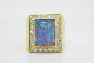 Gentleman's opal diamond ring