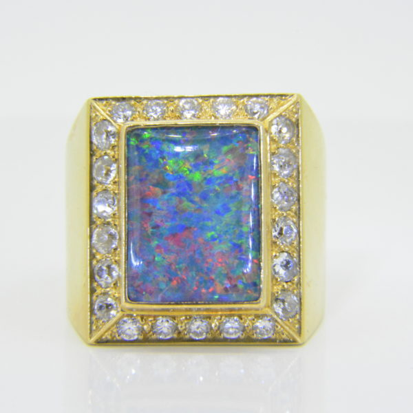 Gentleman's opal diamond ring