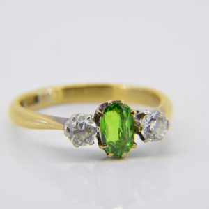 Demantoid garnet ring