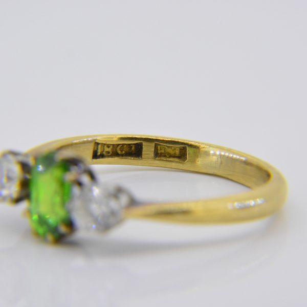 Demantoid garnet ring