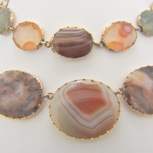 19th century gold & agate necklace & bracelet