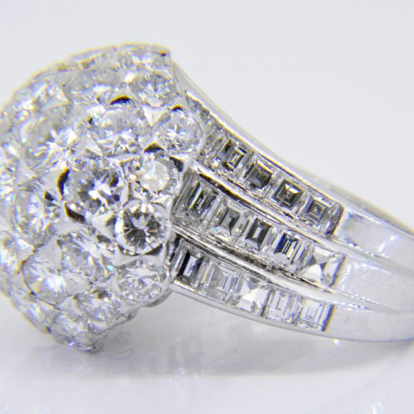1950s diamond bombe cluster ring