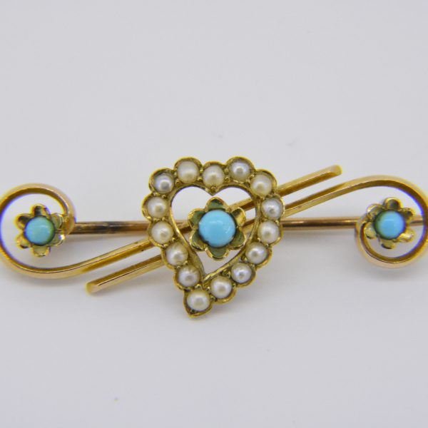 Turquoise seed-pearl heart bar brooch
