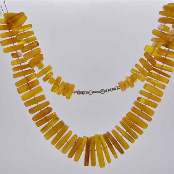 Natural Baltic amber stick fringe necklace