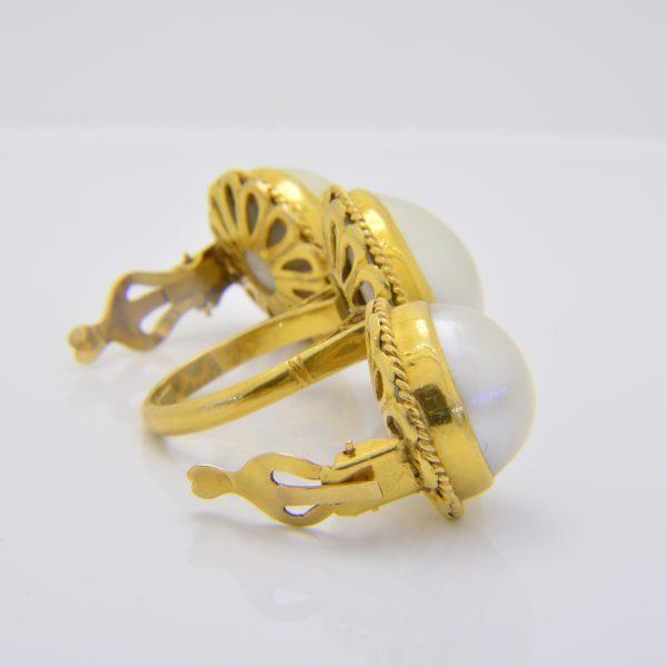 mabe pearl ring & earrings