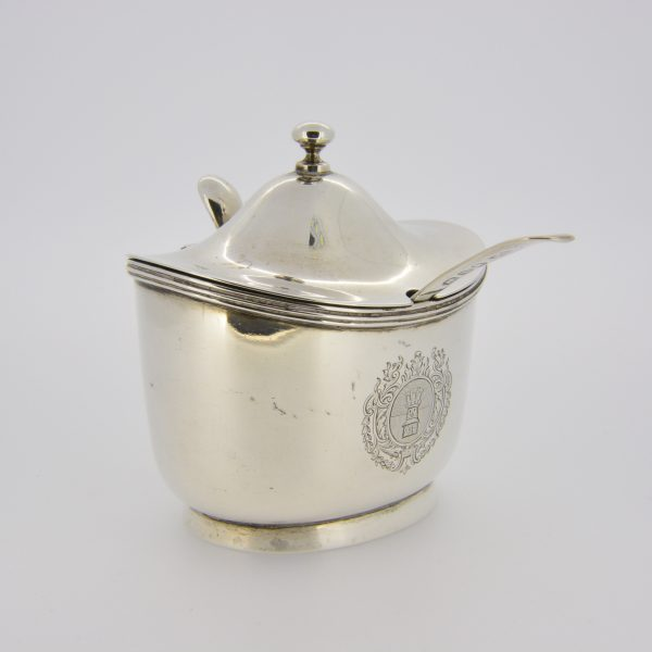 Edwardian silver mustard pot with spoon
