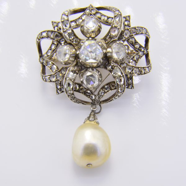 Buy a natural pearl & rose diamond brooch for sale by auction