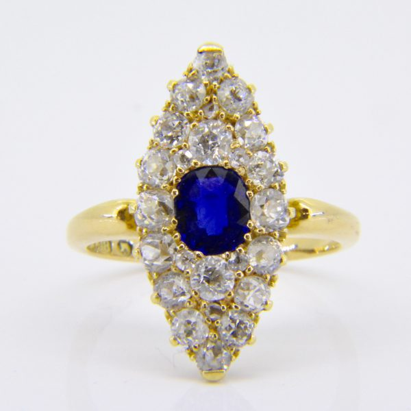 Vintage sapphire & diamond marquise cluster ring 1892