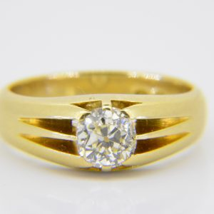 Gentleman gold 1ct diamond single-stone ring