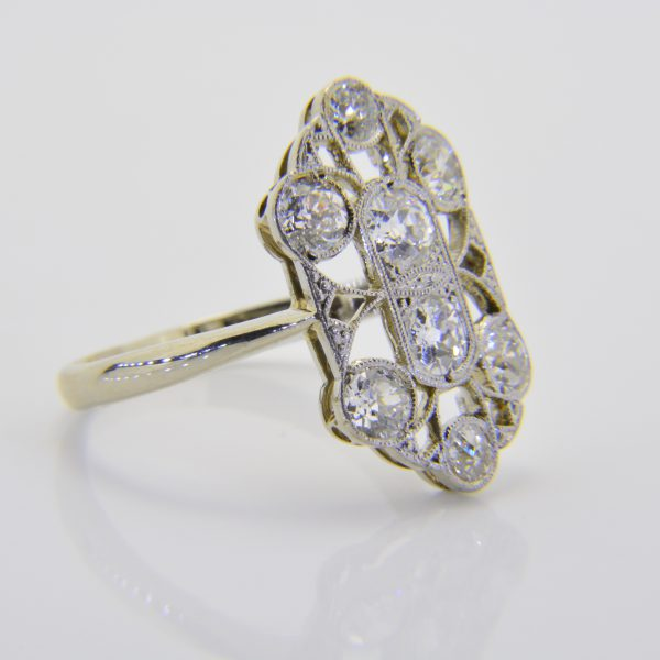 Diamond panel cluster ring