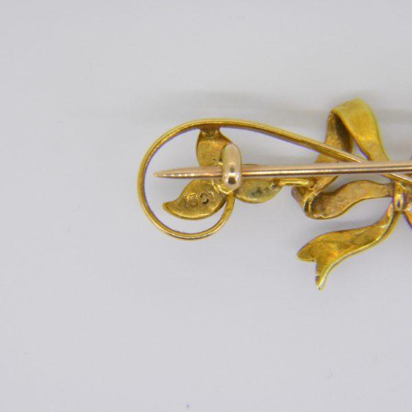 15ct seed-pearl ribbon bar brooch