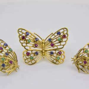 Butterfly brooch & earrings