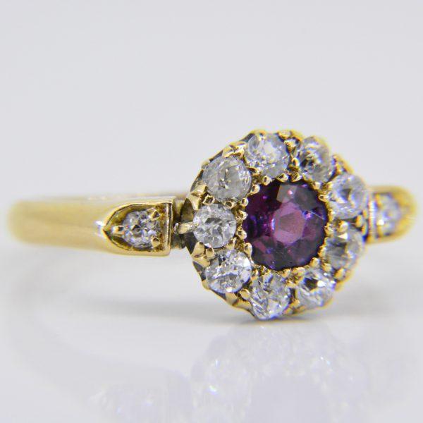 Edwardian ruby diamond cluster ring