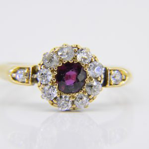 Edwardian ruby diamond cluster ring