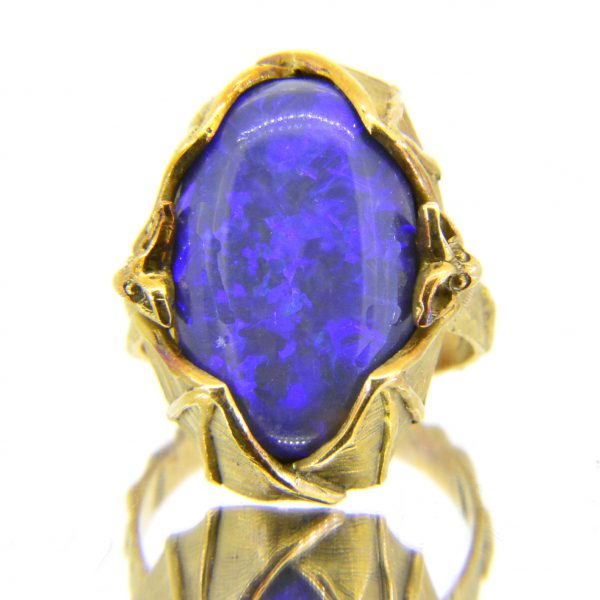 black opal bat ring