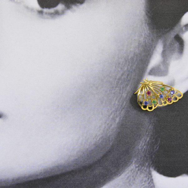 Butterfly brooch & earrings