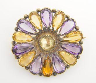 citrine amethyst sunburst brooch