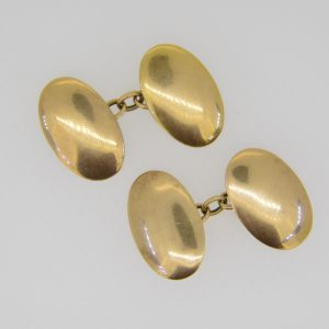 15ct rose gold oval cuff-links
