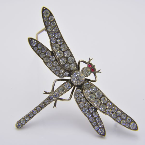 Paste set dragonfly brooch
