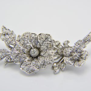 diamond tremblant floral spray brooch