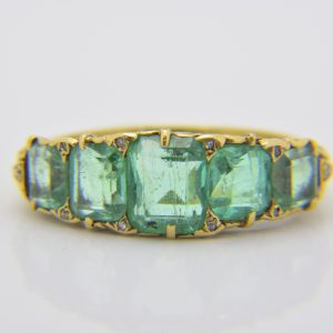 19th century emerald five-stone ring