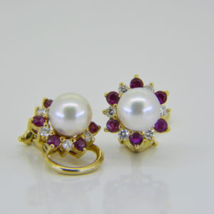 cultured pearl ruby diamond ear clips