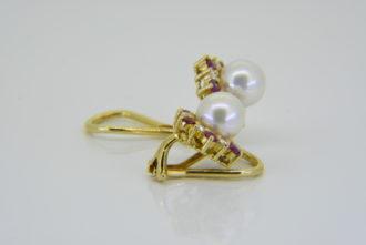 cultured pearl ruby diamond ear clips
