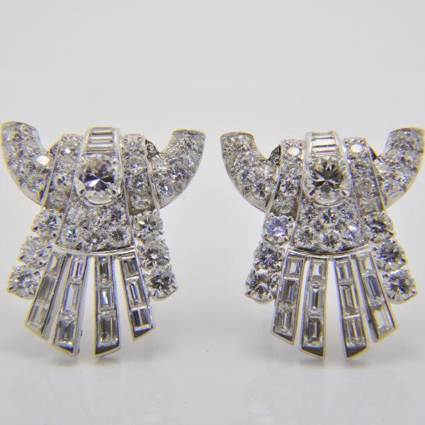 Art deco diamond double clip brooch