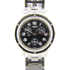 Hermes black dial clipper wristwatch