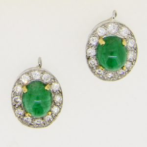Pair emerald and diamond cluster drops