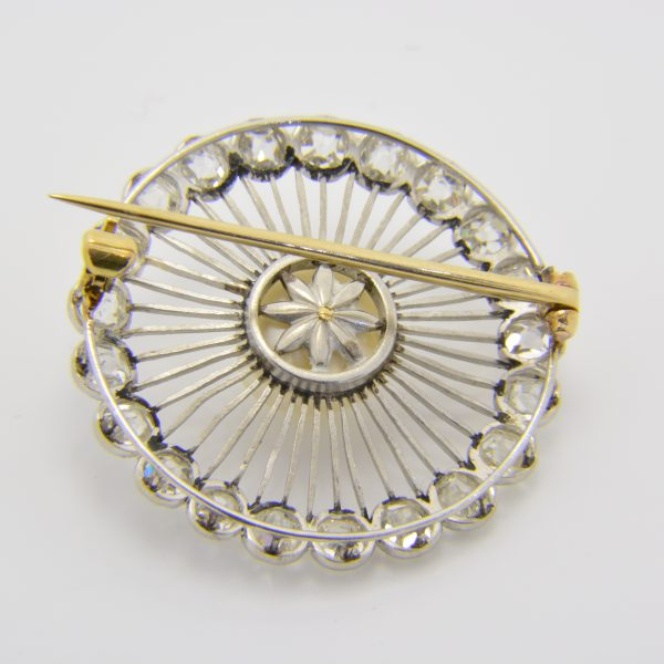 Natural pearl and diamond brooch
