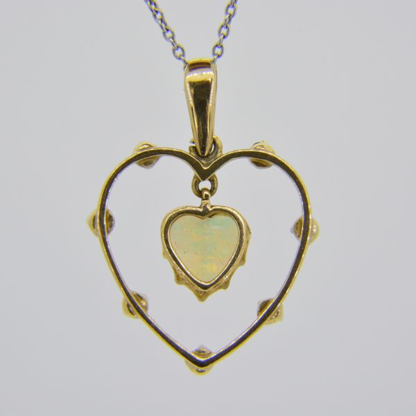Heart opal dearest pendant