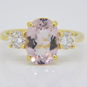Morganite and diamond three-stone ring handmade by Jethro