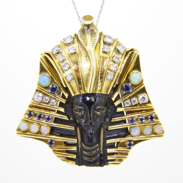 round finish pnd diamond pharaoh tut ct pendant in egyptian king mini gold yelllow yellow