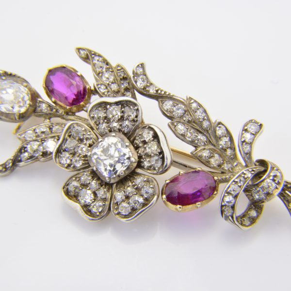 Ruby and diamond rose spray brooch