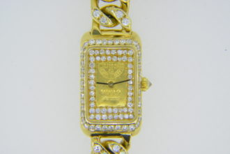Diamond-set gold ingot wristwatch