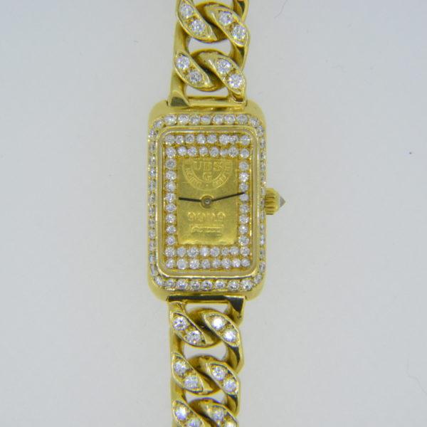 Diamond-set gold ingot wristwatch