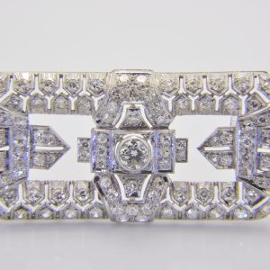 1930s Art deco diamond plaque brooch