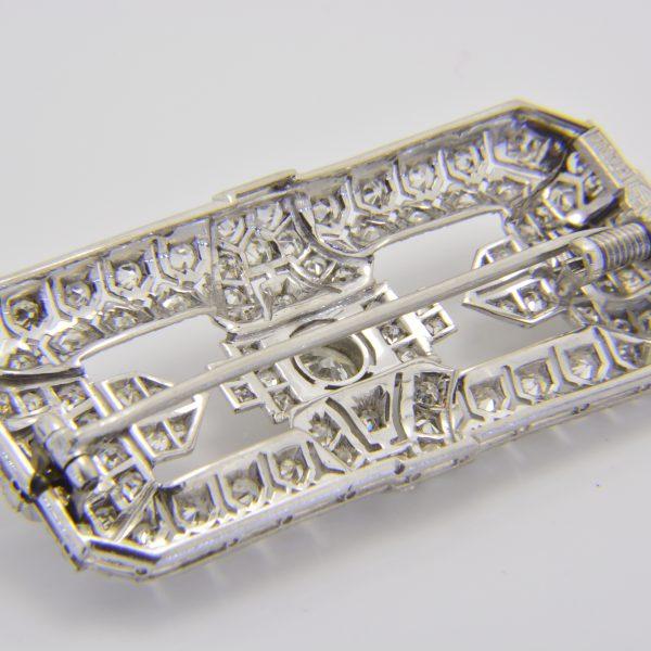1930s Art deco diamond plaque brooch