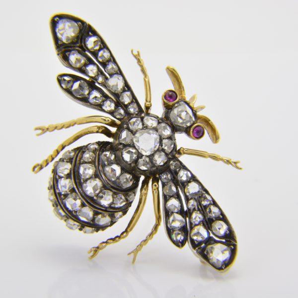 rose diamond bee brooch