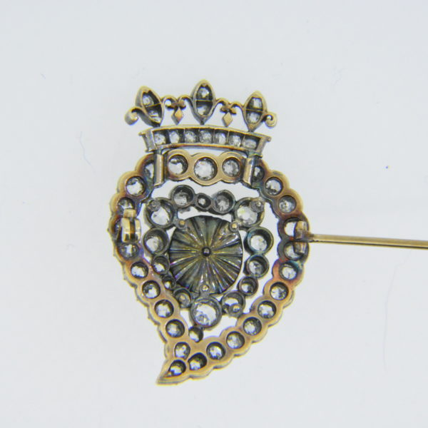 19th century diamond heart brooch