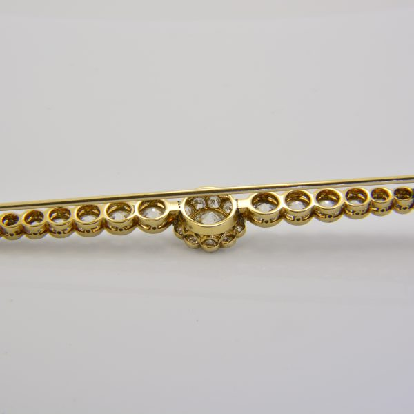 Diamond bar brooch reverse