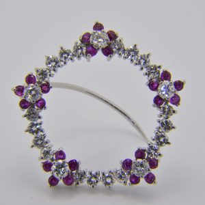 Ruby and diamond circle brooch