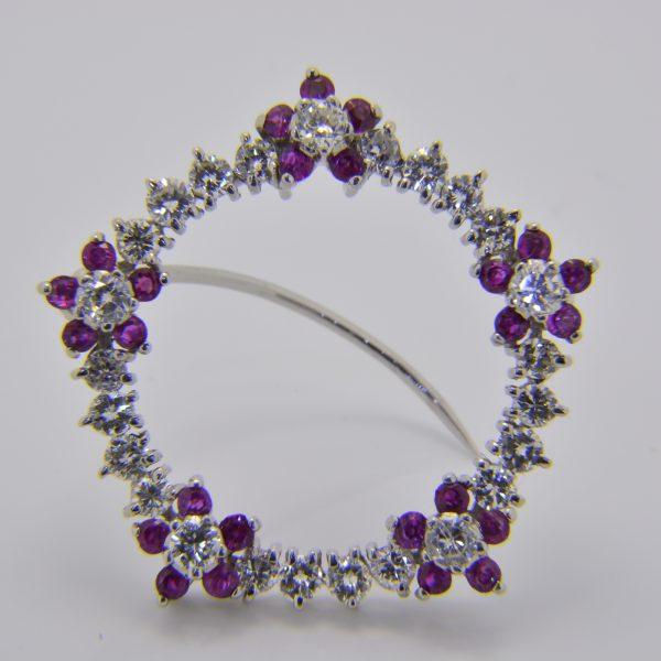 Ruby and diamond circle brooch