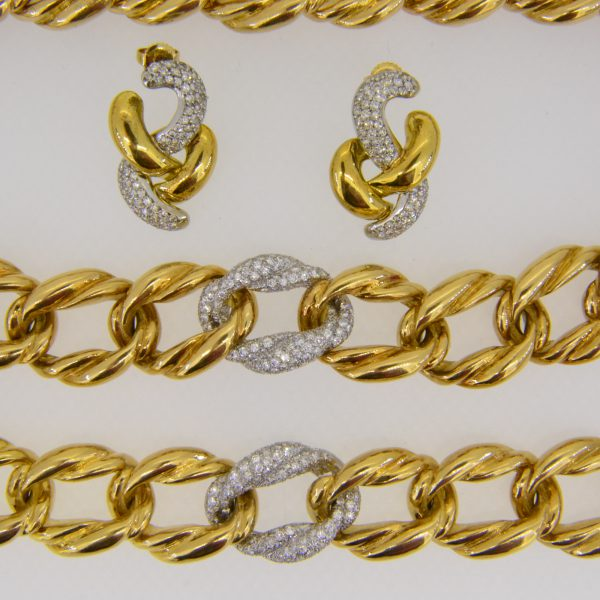 diamond necklace bracelet earring suite