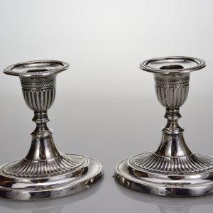 Silver desk-top candlesticks