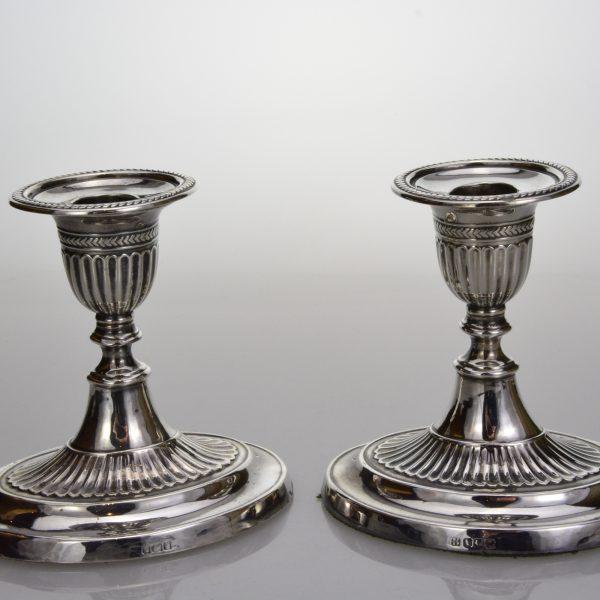 Silver desk-top candlesticks