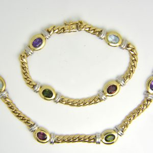 Coloured gem necklace and bracelet