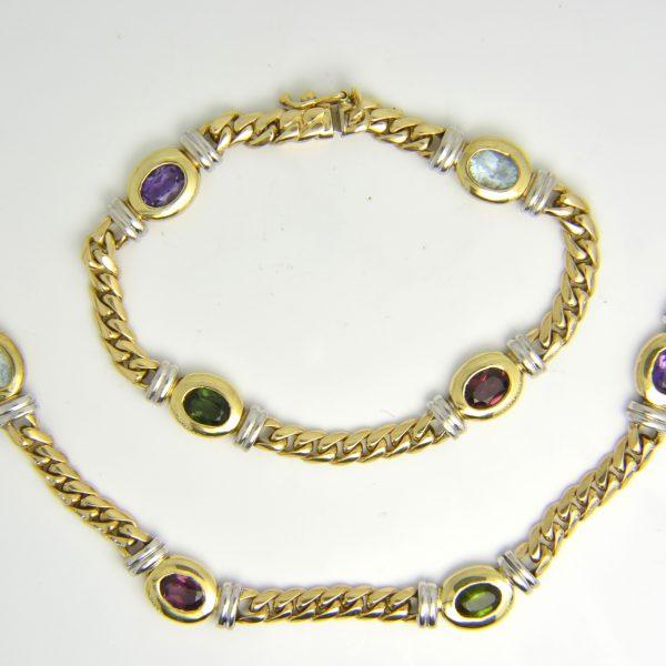 Coloured gem necklace and bracelet