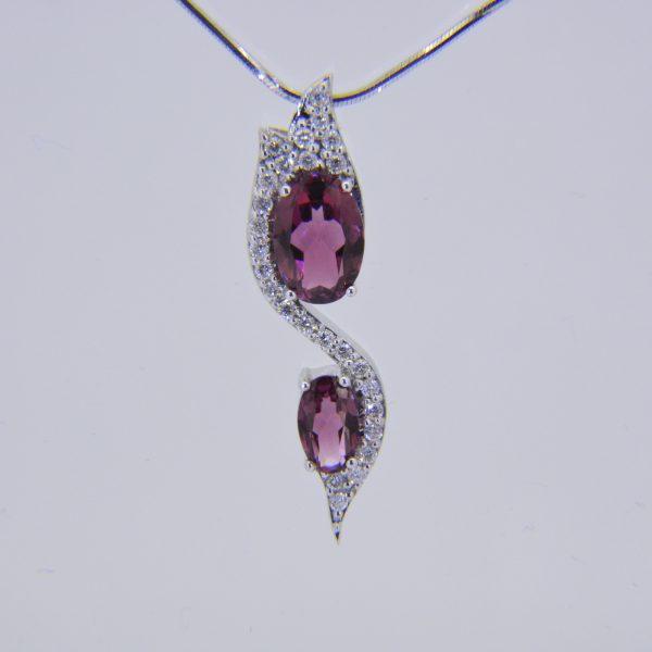 18ct, pink tourmaline & diamond pendant